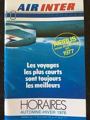 Air Inter Timetable - Autumn/Winter 1976 (gordon.bevan@xtra.co.nz) Tags: airlinesofthe1970's iatacodeit dassaultmercure airintertimetable frenchdomesticairlines horaires airlinetimetable airinter