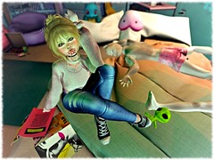 Slum & Glum (amiaurora139) Tags: second life secondlife avatar lotd cute sexy chic female girl alien penis dirty messy room decor pink sweater jeans sneakers mesh hair vinyl bun messyhair toys plush doll ootd look outfit new warm winter cozy