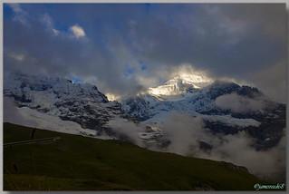Le Monch et une partie du Chemin de fer de la Jungfrau