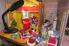 Reality! (Foxy Belle) Tags: diorama behind scenes lighting how barbie theater christmas santa doll ag mini american girl