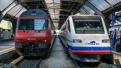 SBB Re 460 046 & Cisalpino ETR 470 3 Zurich Hbf 14 September (BaggieWeave) Tags: switzerland2007 zurich cisalpino sbb re460 etr470