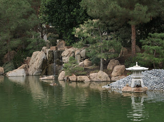 Waterfall and lantern, Japanese Friendship Garden of Phoenix