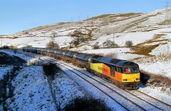 Snow, Sunshine And Shadows. (Neil Harvey 156) Tags: railway 60096 deanfarmbridge portsmouth todmorden copypitline prestondockstanks prestontanks bitumentanks 6e32 class60 colasrail colas tug snow