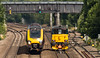 GB Class 73/9 no 739** passes Tupton on 06-07-2017 with a light engine move from Loughborough Brush to Doncaster (kevaruka) Tags: tupton bridge chesterfield clay cross class 66 59 59003 derbyshire england trains train british rail network railfreight railway telephoto flickr front page thephotographyblog ilobsterit countryside summer 2017 july sun sunshine sunny day canon eos 5d mk3 ef100400 f4556l 5d3 5diii yellow blue green colour colours color colors