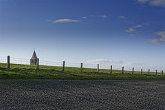 Peaking Tower (Alfred Grupstra) Tags: ruralscene sky nature field landscape agriculture outdoors summer blue nopeople farm grass greencolor scenics nonurbanscene meadow hill cloudsky road cypresstree