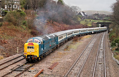 Deltic In The Dry - Just! (Neil Harvey 156) Tags: railway d9009 alycidon hallroydjunction todmorden caldervalley copypitline thetranspenninedelticrepriserailtour thetranspenninedelticreprise transpenninedelticlament railtour 1z29 pathfindertours class55 brblue railblue deltic