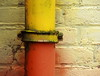 Colour Your World! (vertblu) Tags: wall brickwall brickwork bricks downspout pipe duct yellow orange white ecru sprayed vertblu minimal minimalism minimalismus everydaylife