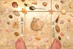 Stubby toes (PentlandPirate of the North) Tags: shells toes seashells tiles cutlery knife fork spoon stubby forfun