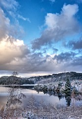 Winter Day, Norway (Vest der ute) Tags: g7xm2 g7xll norway rogaland haugesund eivindsvatnet water waterscape landscape lake clouds sky trees tree reflections snow winter outdoor radiotower fav25 fav200