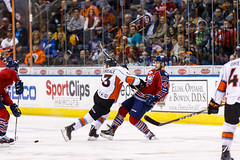 """Kansas City Mavericks vs. Kalamazoo Wings, January 5, 2018, Silverstein Eye Centers Arena, Independence, Missouri.  Photo: © John Howe / Howe Creative Photography, all rights reserved 2018. • <a style=""""font-size:0.8em;"""" href=""""http://www.flickr.com/photos/134016632@N02/25707979208/"""" target=""""_blank"""">View on Flickr</a>"""