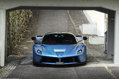 Shelter (Ste Bozzy) Tags: ferrari laferrari laf ferrarilaferrari theferrari matte wrap wrapped skyblue lightblue hypercar hybrid hyperhybrid supercar italian exotic car automotive extreme ultimate v12 engine fast luxury expensive exclusive kesselracing kessel bridge wet rain storm carsandcoffee carscoffee swiss switzerland 19bozzy92