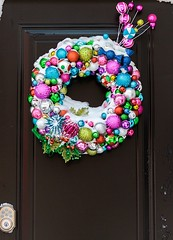 Christmas Wreath (Karen_Chappell) Tags: door wreath xmas noel holiday christmas balls baubles ornament ornaments decor decoration stjohns downtown house city urban snow winter december newfoundland nfld canada atlanticcanada avalonpeninsula pastel pink green blue purple red multicoloured colourful colours colour color circle round