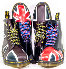Union Jack. . . Dr Marten. . . (CWhatPhotos) Tags: mk ii art artistic cwhatphotos photographs photograph pics pictures pic picture image images foto fotos photography that have which contain view olympus omd em5 visual dm dms docs dr marten martens boot boots cool doc airwair yellow stitching color colour colours colors 1460 8 hole iconic union jack flag great briton laces laced lace red blue white redblueandwhite foot wear pascal compare comparison old new styles style