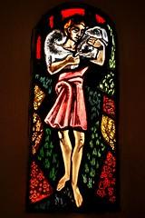 """Burzy (71), vitrail """"Le Bon berger"""" (odile.cognard.guinot) Tags: église 1954 bonpasteur vitrail saôneetloire bourgogne bourgognefranchecomté hurémarguerite"""