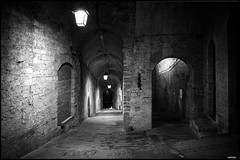 UNDERGROUND LAMPS (sick4pic) Tags: bw blackandwhite contrast lamp lamps walls bricks underground architecture perugia italy