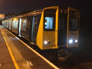 313201 awaits departure from Seaford with the 06.57 to Brighton (2F38) on Thursday 28th December 2017.