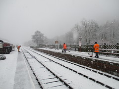 Stephen, Kevin and Elaine clear the platforms of snow ready for the trains 29Dec17