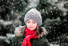 (Rebecca812) Tags: girl child winter snow snowing red green outdoors enjoyment eyesclosed serene calm peace joy portrait people zen evergreentrees hat scarf coat snowcovered