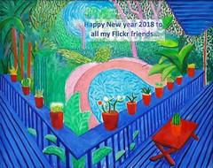 Happy New Year / Heureuse Année 2018 (Sokleine) Tags: 2018 wishes souhaits bonneannée davidhockney hockney painting tableau jardin garden blue bleu