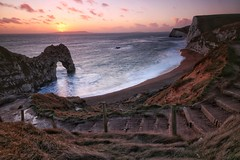 Durdle Door Sunset (musxhiqe62) Tags: sunset southcoast uk worldheritagesite england canonflickraward clouds arch stairway jurassiccoast lulworthestate 750d canon dorset durdledoor