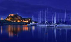 Corfu during blue hour (Ifigeneia Vasileiadis) Tags: corfu bluehour fort yachts sea fortress ionian island greece outdoors springtime