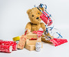 """""""Christmas all wrapped up..."""" (Ian Johnston LRPS) Tags: christmas 2017 ted bear wrapping paper parcels boxes string ribbon tape difficult problems"""