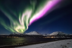Skibotn Norway (Mikko Lönnberg) Tags: night northernlights nightscape nightphotography norway sky skibotn auroras auroraborealis arcticlights arctic mountain sea stars explore snow mikkolönnbergphotography