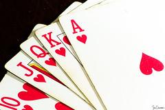 Royal Flush (Explored 18 December 2017) (Ian Charleton) Tags: flickrfriday astrokeofluck poker royalflush cards playingcards gambling winning rare lasvegas hearts ace flush