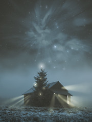 Merry Christmas (petrisalonen) Tags: northernlights north auroraborealis rays lightrays winter fog mist night christmas christmastree space astrophotography finland nature stars christmasspirit blue barn photoshop landscape