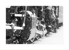 Locomotive In the Snow - Grand Haven, MI (DJ Wolfman) Tags: blackandwhite bw train locomotive olympusomd olympus em1markii zuiko zd 12100mmf4zuiko micro 43