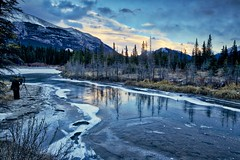 Sunset sky Canmore, Explored! (John Andersen (JPAndersen images)) Tags: 3sisters alberta canmore clouds fall forest grottomountain ice kananaskis leaves mountlougheed mountains reflections waterfall