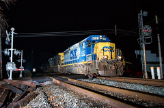 Midnight Blue (Wheelnrail) Tags: csx csxt gp402 emd yn2 locomotive train trains flash w944 tipp city ohio cpl signal toledo subdivision night photography railroad rails