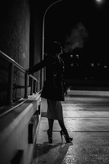 ROOFTOP (R*Wozniak) Tags: bw nikon nikond750 night women blackandwhite blackwhite 50mm