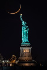 Crescent Moon with The Statue of Liberty (dansshots) Tags: newyorkcity nyc moon themoon crescentmoon statueofliberty ladyliberty dansshots nikon nikond750 sigma300800mm sigma nightphotography nightshot