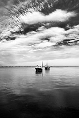 two lobsterboats.jpg (dwoodpics) Tags: coastal water nautical maine boats blackandwhite commercialboat lobsterboat