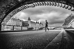 City of Bridges (Mustafa Selcuk) Tags: moody people curves parisien parisian paris runner running joggers fujifilm monochromatic monochrome sb siyahbeyaz bridges bridge street streetphotography streetphotographer nb neb noiretblanc bw bnw blackandwhite