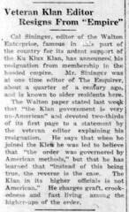 1924 - Cal Sininger leaves KKK - Enquirer - 25 Sep 1924