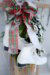 ~Sled, Skates and Snow~ (cheryl c.) Tags: winter snow 2018 blizzard ontheporch whichiscovered skates sled ribbons andbows throughherlens