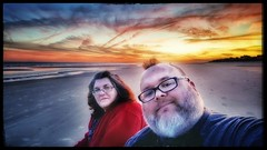 10/27/17 - Sunset on the Beach @ Hilton Head Island, SC (Chillycub) Tags: october 2017 vacation trip hdr sunset beach ocean sand hiltonheadisland southcarolina me dave chillycub gay bear cub selfportrait friend amy