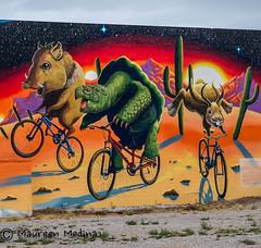 A Javelina, A Desert Tortoise And A Jackalope Ride Into A Bar at Night... (Maureen Medina) Tags: tucson downtown arizona az mural desert animals art maureenmedina artizenimages javelina jackalope deserttortoise whimsy bike biking