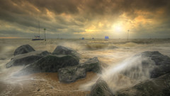 Beautiful Storm... (KissThePixel) Tags: storm stormyskies skies sky skyscape beachscape beacheslandscapes landscape cloud clouds cloudscape january essex thames thamesestuary sea waves crashingwaves rocks light sunlight beautiful earth beautifulearth nikon boats horizon