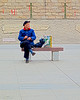 On The Waterfront.  Hankou, Wuhan, Hubei, China (MJ Reilly) Tags: wuhan hankou hankoujiangtanpark china yangtze man canon poweshot s100 canons100 canonpowershot chinese river seat seated sat hat oldman bench winter coat