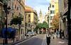 Zaragoza. (blanferblanc) Tags: calle zaragoza aragón gente torre farola papelera coches casas acera campanario