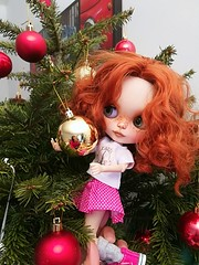 Our beloved Marie doll, helping to decorate the Christmas tree