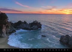 Sundown at McWay Falls (Matt Granz Photography) Tags: bigsur california coastline beach cove waterfall trees ocean pacific sunset clouds nature