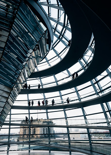 People Walking Round The German Reichstag Copula Dome