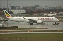 ET-ATQ Airbus A350-941 Ethiopian Airlines (elevationair ✈) Tags: london heathrow airport londonheathrow lhr egll airliners airlines avgeek aviation arrival tow undertow wet dull rain cloudy apron widebody longhaul ethiopian ethiopianairlines airbus a350 a359 airbusa350941 etatq siemensmountains