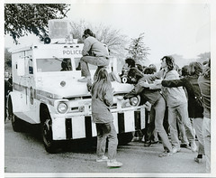 Mayday protesters surround police vehicle: 1971 (Washington Area Spark) Tags: mayday may day tribe demonstration protest civil disobedience shut down government block traffic police arrest encampment disperse clear 1971 washington dc anti vietnam war indochina