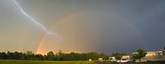 Lightning and Rainbow, Benton, KY (Bob G. Bell) Tags: rainbow doublerainbow benton kentucky lightningstrike storm weather mobilehome spring bobbell canon eos40d lightning thunderstorm