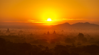 Scenic sunrise above bagan in Myanmar Bagan is an ancient city with thousands of historic buddhist